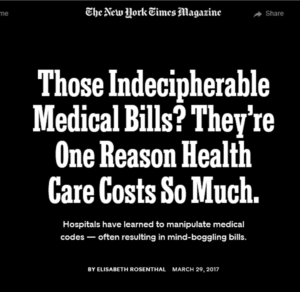"""Screenshot of New York Times piece on """"guerrilla coding"""" and medical costs"""